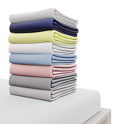 Lenzuolo angoli in cotone 180 x 200 cm, bianco, altezza 30 cm - certificato senza prodotti chimici (oeko tex), lenzuola angoli con elastico completo - biancheria da letto per materasso 180x200 cm