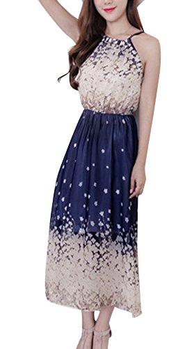 Blansdi Femme Maxi Licol Robe de Soirée Cocktail Mariage Plissé Robe de Plage Sans Manches Mousseline de Soie Modèle01