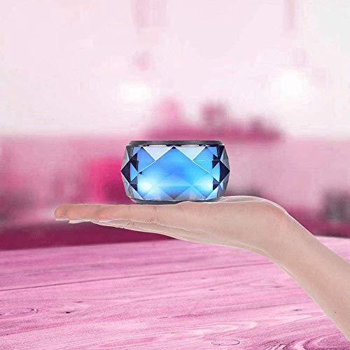 LED Bluetooth Lautsprecher Speaker Tragbarer Mini Bunter Nachtlicht Drahtloser Außenlautsprecher, Kristall Nachttischlampe & Eingebautes Mikrofon für iPhone/Tablet/Laptop usw. (Black) - Lautsprecher-tower Farbwechsel