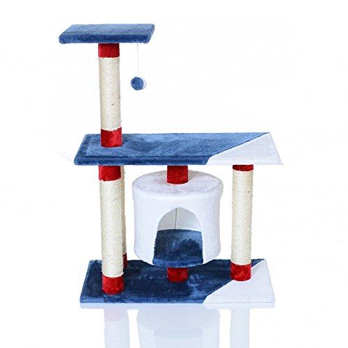 LCP Arbre à chat griffoir grattoir TERAL 75x40x95 cm - Rouge Blue