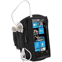 igadgitz Schwarz Wasserabweisendes Neopren Sport Jogging Fitness Armband Tasche Oberarmtasche Etui Case Hülle Schutzhülle für Nokia Lumia 800 Windows Smartphone Mobile Handy