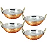 Set of 4, Stainless Steel Hammered Copper Serveware Accessories Karahi Pan Bowls for Indian Food, Diameter 13 Cm