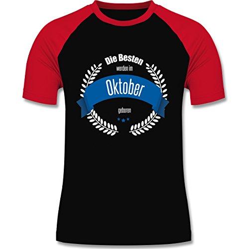 Geburtstag - Die Besten werden im Oktober geboren - zweifarbiges Baseballshirt für Männer Schwarz/Rot