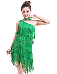 0aa47bfc86be BOZEVON Donna Vestiti da Ballo Nappa Spalla Singola Vestito da Ballo Latino  Danza Moderna Prestazione Concorrenza