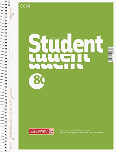 Brunnen 1067940 Notizblock / Collegeblock Student (A4, unliniert 70 g/m², 80 Blatt) - Block