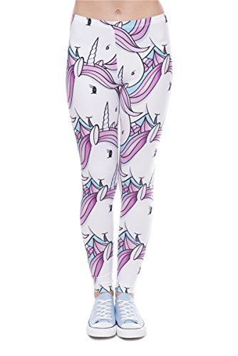 Frauen Leggings Weiß Rosa Bedruckte Leggings Hose Frühling Sommer Kleidung Einhorn L49