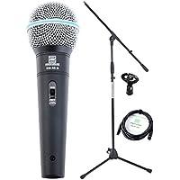 Pronomic Superstar Mikrofonset (Komplettset, dynamisches Gesangs Mikrofon, Galgenständer, 5m XLR-Kabel, Mikrofonklemme) schwarz