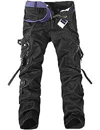 Homme Cargo Pantalons Loisir Travail-Multi Poches Vintage Style Combat Militaire Pants (Sans ceinture)