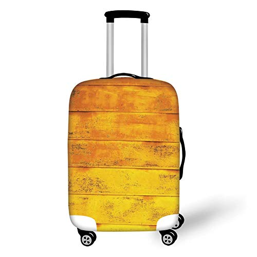 Travel Luggage Cover Suitcase Protector,Yellow,The Wooden Horizontal Background Texture from Oak Tree Timber Design for Lliving Decorative,Light Yellow,for Travels 19x27.5Inch -
