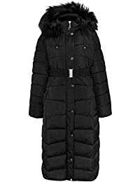361d53e8013c Fashion Thirsty Womens Ladies Plus Size Long Quilted Padded Winter Jacket  Coat Fur Trim Hood