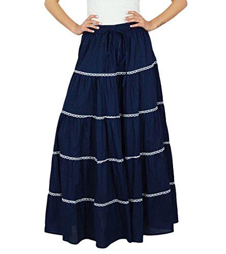Bimba Womens Long flaired Baumwollrock Boho Maxi Bottoms elastische Taillen-indische Kleidung -