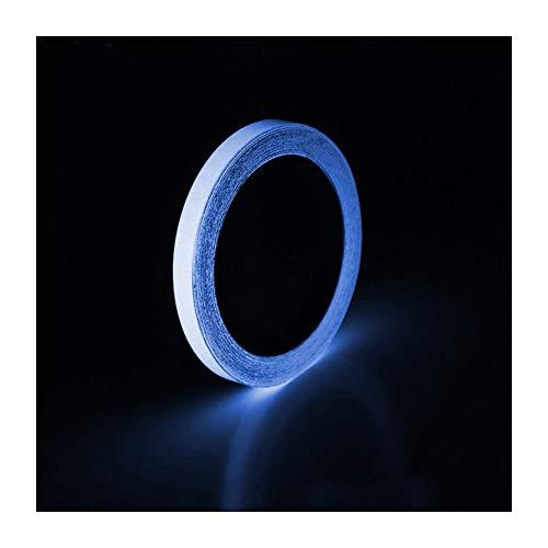 AMhomely Blaues Leuchtband, 1 cm / 1,5 cm x 3 m wasserdichtes selbstklebendes Fluoreszierendes Klebeband Leuchtet im Dunkeln Leuchtendes Klebeband für Outdoor-Schritte (Weiß, 1.5CM)