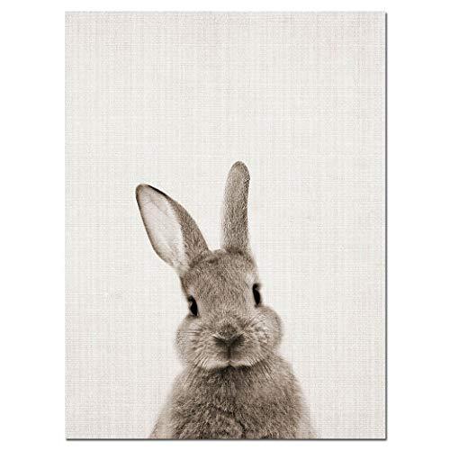 einwand Kaninchen Leinwand Kunst Poster Woodland Baby Animal Print Wandbild Für Wohnzimmer Dekor 40X60 cm Rahmenlose ()