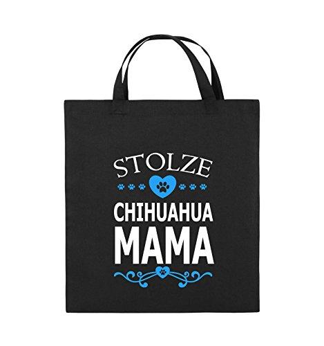 Comedy Bags - Stolze Chihuahua Mama - HERZ - Jutebeutel - kurze Henkel - 38x42cm - Farbe: Schwarz / Weiss-Neongrün Schwarz / Weiss-Hellblau