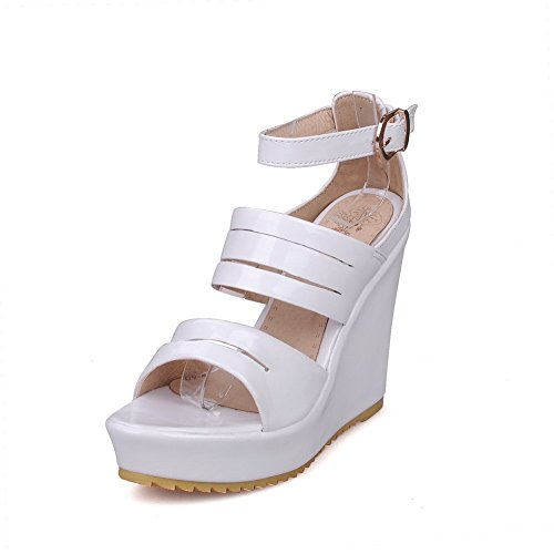 Mulheres De Branco Dedo Sandálias Alto Aberto Fivela Odomolor Salto Couro De De Uwx4wdCqO