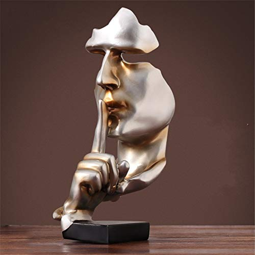LWZY Harz-Schweigen ist Gold Menschen statuen skulpturen,Kreativen Handwerk Home büro Dekoration Kunst Ornamente Denker statuen Vintage deko Figur skulpturen -A 17x17x35cm(7x7x14inch)
