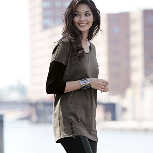 ESMARA® Damen 3/4-Arm-Shirt mit Kunstleder-Detail Dunkelgrau Meliert