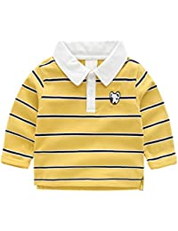 Polo para Niños Camisetas de Manga Larga Bebé Niños Perros Bordados T-shirt Pullover Algodón