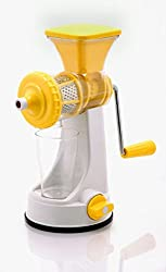 Shraddha Big Fruit & Vegetable Premium Manual Hand Juicer Mixer Grinder with Steel Handle & Waste Collector (Yellow)