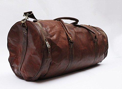 Borsa in pelle fatta a mano da 60 cm per viaggi del fine settimana e per la notte / 24 Inch Handmade leather duffle luggage travel overnight weekend bag - Grande Rotonda Borsone