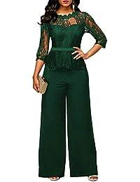 FeelinGirl Damen Jumpsuit Elegant Spitze Jumpsuit mit 1/2 Ärmel Bluse Overall Stilvoll Hohe Taille Weitem Bein Langhose Einteiler Hosenanzug Party Abendmode