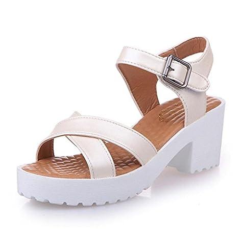 Bluestercool Summer Rough Sandals Femme Open Toe poisson bouche talon haut Outdoor Platform Shoes (Beige, 35)
