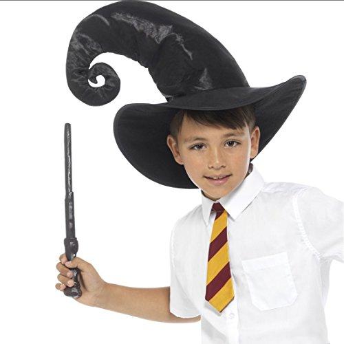 Magier Kinderkostüm mit Hut, Krawatte und Zauberstab Harry Potter Verkleidung Zauberlehrling Outfit Zauberhut Zauberer Kostüm Set für - Zauberlehrling Kostüm
