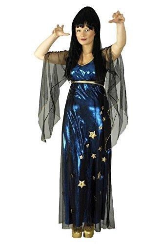 Magierin Kostüm blau-schwarz-gold für Damen | 40/42 | 1-teiliges Zauberin Kostüm | Magierin Faschingskostüm für Frauen | Hexenkostüm für (Kostüm Blaue Und Fee Die Schwarze)