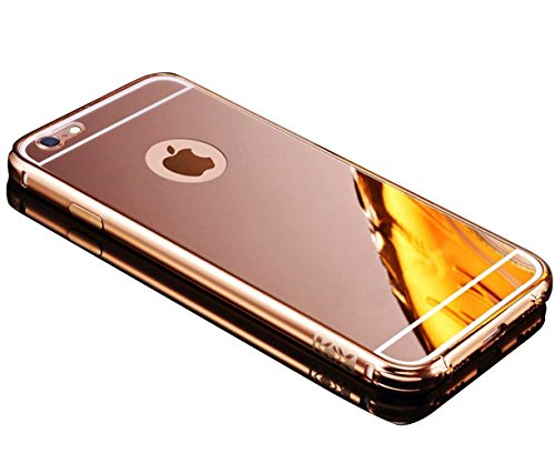 Sunroyal für iPhone 7 4.7 Zoll Gold Mirror Spiegel Metall Case Cover - Aluminium Rahmen PC Zurück Rückseite Bumper Case Metal Hülle Alu Metal Schutz Mirror Chrom Cover Ultra Slim Handy Tasche LUXUS Me Rose Gold