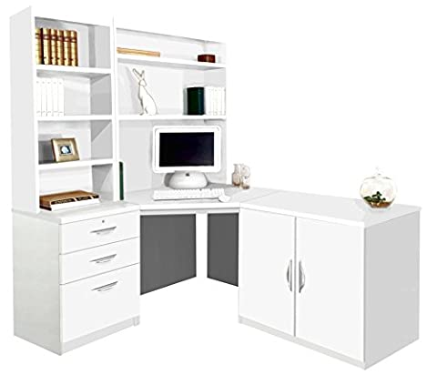 Home Office Furniture UK Computer Table Desk HUTCH Bookcase with Doors Set, Wood, White, satin Profile,