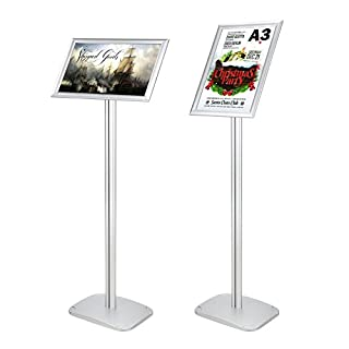 Voilamart A3 Poster Stand Floor Aluminum Display Stands Snap Frame Poster Board Menu Holder Advertisement Rack Sign Stand with Heavy Duty Metal Base