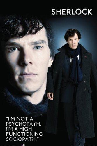 """Posters.de - Poster di Sherlock, motivo: """"non sono un sociopatico. Sono un sociopatico altamente funzionale"""", 61 x 91,5 cm [lingua inglese]"""