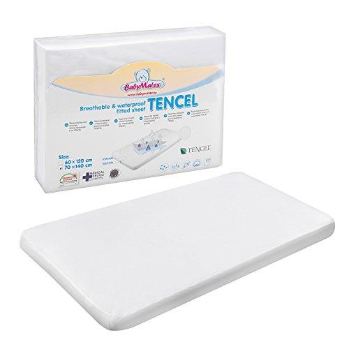 BabyMatex Tencel Spannbetttuch für Wiege, Krippe und Kinderbetten. Wasserdichtes, Hypoallergenes Spannbettlaken Cover für Kindermatratzen, Weiß (80 x 160 cm)