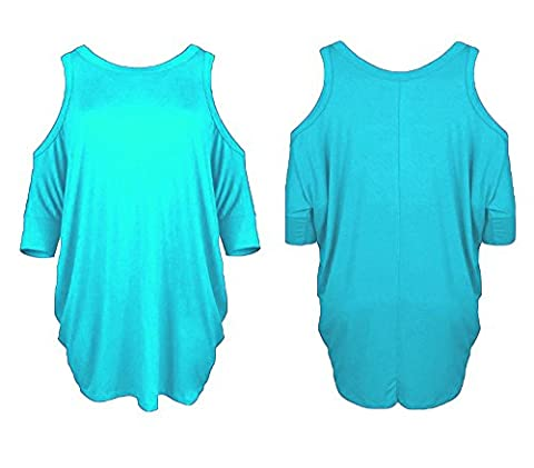 Womens Ladies New Cut Out Shoulder Short Sleeve Sexy T Shirt Tee Long Dress Batwing Top