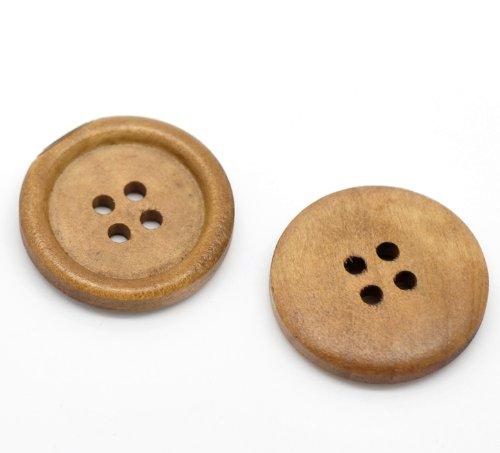 50 Botones redondos de madera 25mm