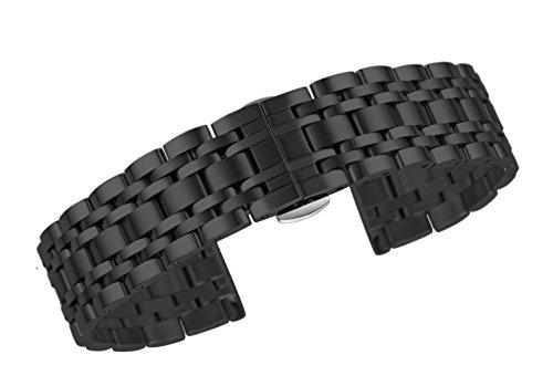 21mm High-End-schwarz langlebiger Uhrenarmband Armband aus massivem Edelstahl mit abnehmbarem Link gerade Ende