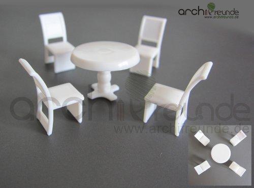 5er Set Modell Tisch Set mit 4 Stuhl rund für Modellbau 1:50/75/87/100, Modelleisenbahn Spur 0/00/H0/TT - Stuhl-modell