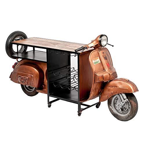Home Bar Konsole (LEBENSwohnART Vintage Tresen Scooter Bronze ca. L210cm Bar Weinregal Theke Konsole Roller)