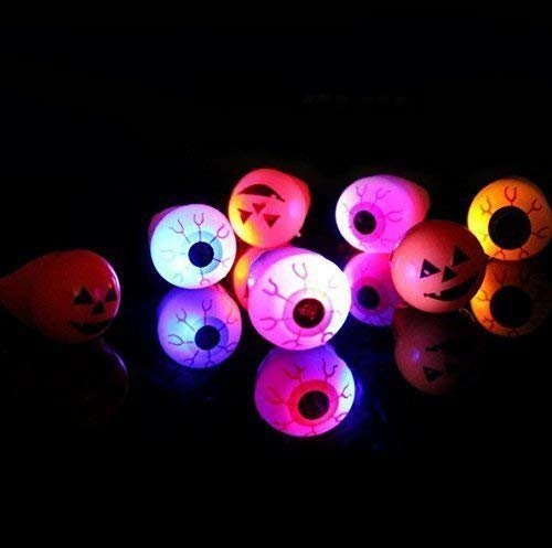 VPlus 12PCS Mode Unisex LED Licht Augapfel Kürbis Luminous Flash Ring Halloween Schmuck-Random-Muster