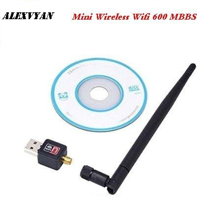 AlexVyan®-Genuine Accessory with 1 year warranty- USB Wifi 600 Mbps Wi Fi Dongle 600Mbps Wireless Adapter Adaptor 802.11n/g/b with Antenna Antena