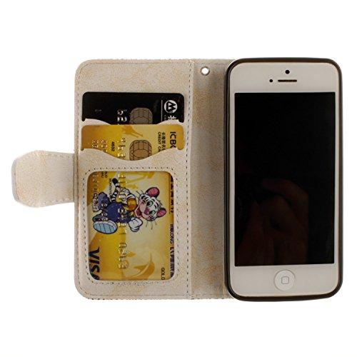 Voguecase® Pour Apple iPhone 6 Plus/6s Plus 5,5 Coque, Étui en cuir synthétique chic avec fonction support pratique pour Apple iPhone 6 Plus/6s Plus 5,5 (Fleurs de Datura-Bleu)de Gratuit stylet l'écra Fleurs de Datura-Beige