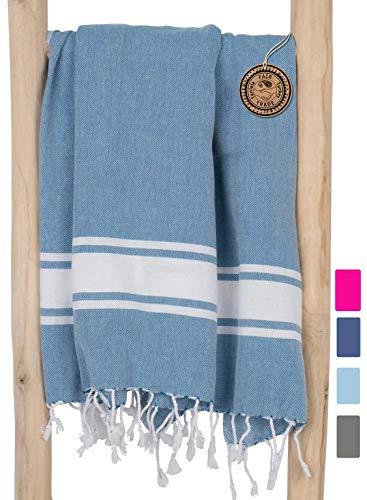 ZusenZomer Hamamtuch Groß SOL 100x200 Petrol Blau - Hamam Badetuch Strandtuch Saunatuch XXL 100% Baumwolle Oeko-Tex - Hochwertige Fair Trade Hamam tücher