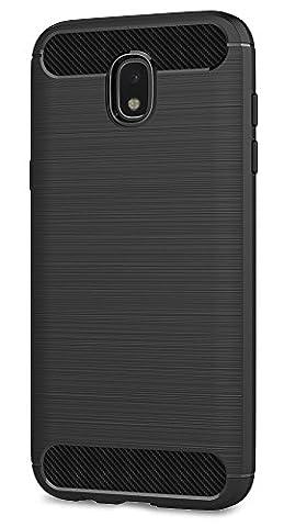 Galaxy J5 2017 Coque, Ferlinso Flexible Rugged Armour Hybrid Defender Housse de protection contre les chocs Housse de protection en fibre de carbone avec [Protection écran] pour Samsung Galaxy J5 2017 (Noir)