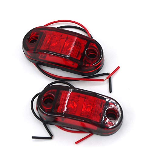 Asdomo 2pc 2LED Side Marker Lights For Trucks Side Clearance Marker Light Clearance Lamp For Trailer,Red