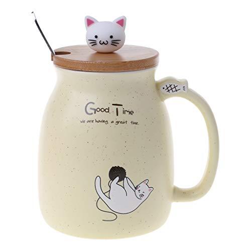 420ml Katze Keramik Becher Kaffee Hitzebeständige Tasse Mit Löffel Deckel Drinkware Kinder Geschenk