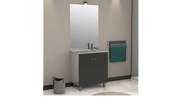Meuble salle de bain éCOLINE 80 simple vasque résine Gris brillant