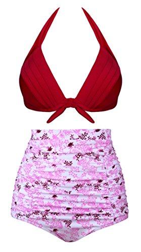 Angerella Vintage Ruched Hohe Taille Bikini Badeanzug Blumenmuster Zwei Stück Badeanzug (Bikini-badeanzug Zwei Stück Tag)