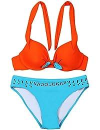 KUWOMINI.Europe Et Le Bikini Aux États-Unis Dame Maillots De Bain Les Soins En Acier Rassembler De Grande Taille Grosse Poitrine Femme Bikini,Orange-XL