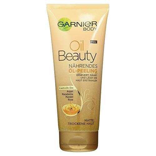 Garnier Oil Beauty Nährendes Öl Peeling/Körperpeeling mit 4 wertvollen Ölen Argan, 1er Pack (1 x 200 ml) (Den Schöne Für Creme Körper)