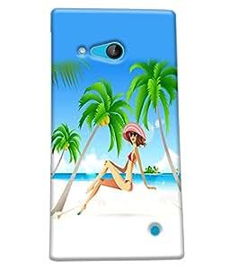 Fuson Beach Girl Back Case Cover for NOKIA LUMIA 730 - D4113